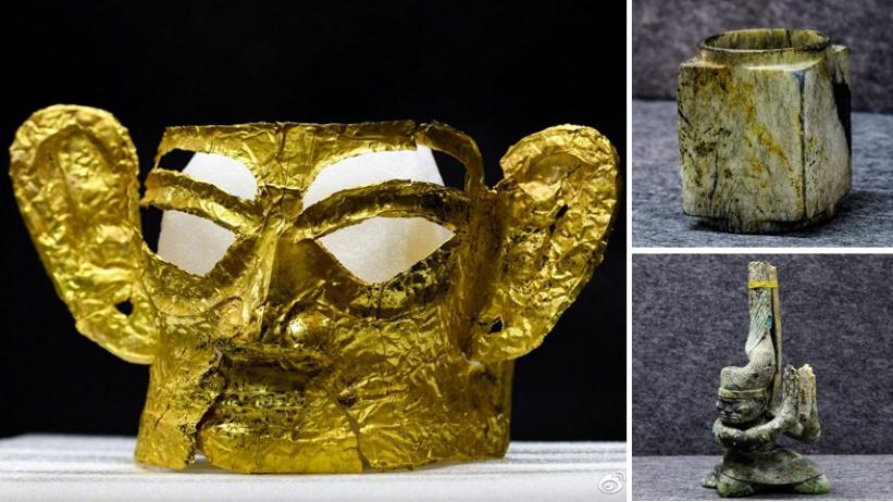 金面具、神坛、玉琮、丝绸……三星堆考古又上新了!